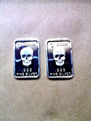TWO BAR LOT, FINE .999 SILVER 1 GRAM  BARS  FRONT FACING SKULLS FREE SHIPPING
