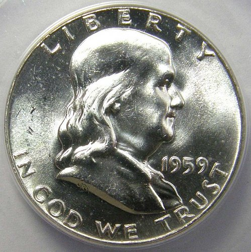 1959 Franklin Half Dollar #1 FULL BELL LINES FBL