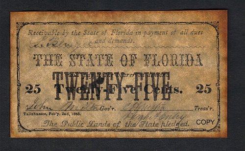 Confederate States Of America The State Of Florida Replica 25Cents-Copy Feb 2nd,
