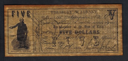 Confederate States Of America Treasury Warrent Texas-Replica $5 Dated Jan14,1862