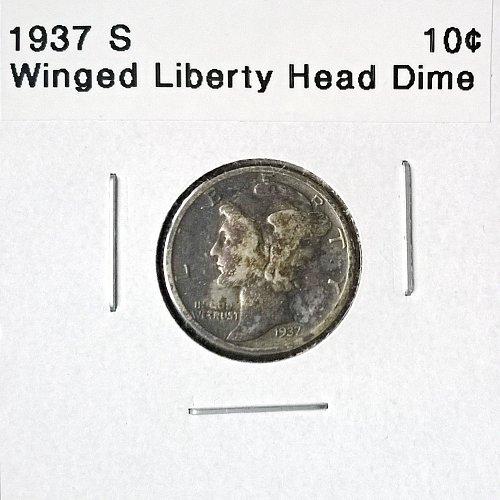 1937 S Winged Liberty Head Dime - 4 Photos!