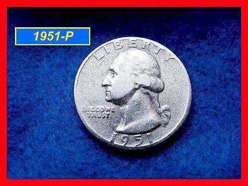 """1951-P  Washington Quarter ☆☆☆☆ """"Circulated Condition"""" ☆ (#2448)"""