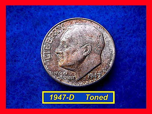 1947-D SILVER DIME ☆ ☆  Circulated ☆ ☆ ☆ ☆  Toned (#3441a)