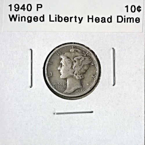 1940 P Winged Liberty Head Dime - 4 Photos!