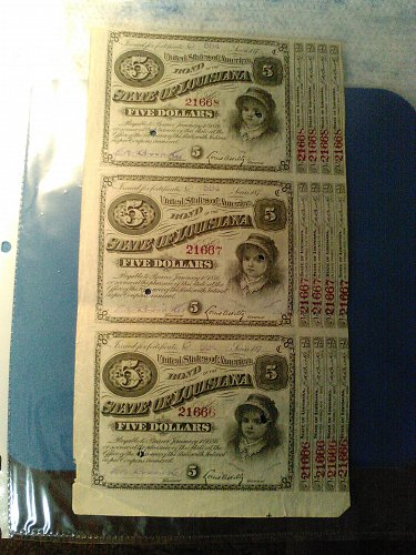 SET OF 3 UNCUT 1870'S LOUISIANA 5 DOLLAR BABY BONDS WITH 4 COUPONS EACH
