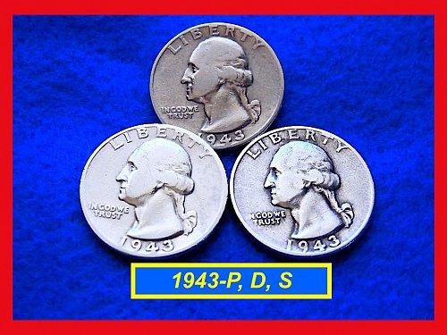 1943-PDS  3–COIN SET •••••  Washington Quarters     (#2362)