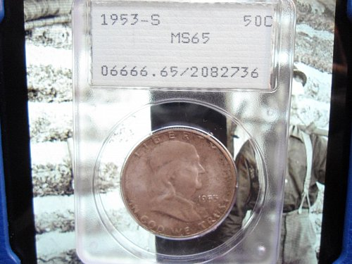 1953 S Franklin Half Dollar. Certified P.C.G.S. MS 65