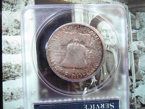 1953 S Franklin Half Dollar. Certified P.C.G.S. MS 65