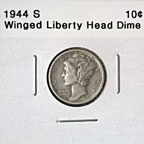 1944 S Winged Liberty Head Dime - 4 Photos!