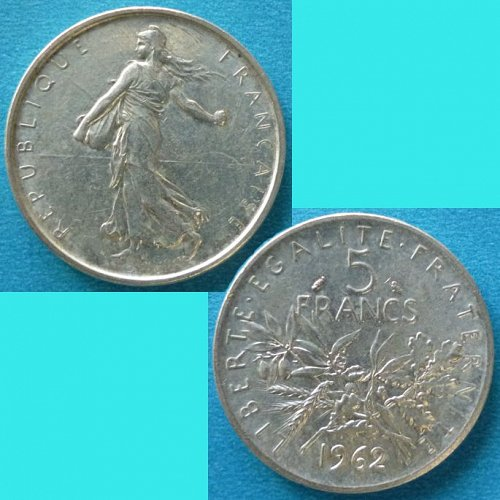 France French Francaise 5 Francs 1962 km 926 Silver