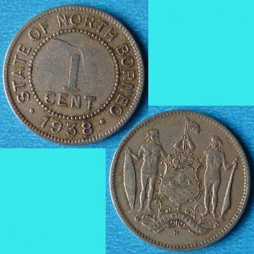 British North Borneo 1 Cent 1938 km 3