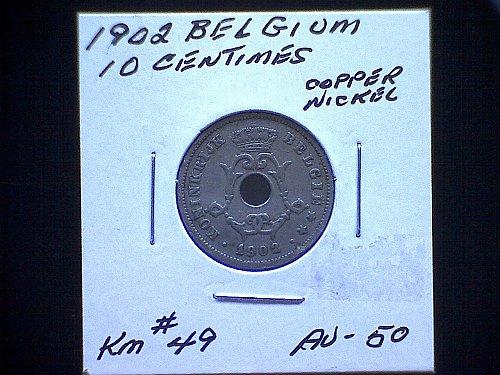 1902 BELGIUM TEN CENTIMES
