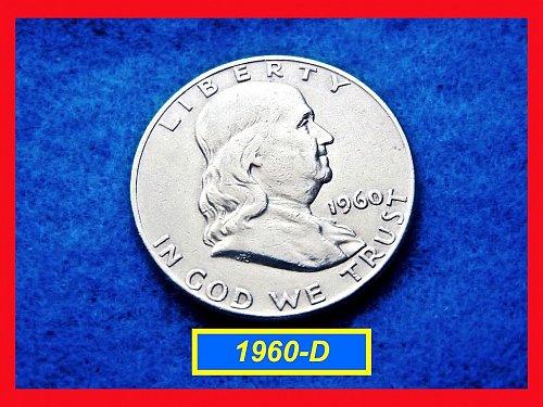1960-D Franklin Half Dollar  ☆☆☆☆  Circulated  ☆☆☆☆  (#1571)