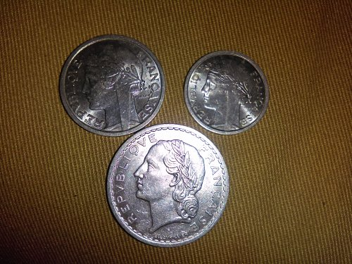 Lot of 3 French coins- Francs:1949(5franc coin), 1958(2franc coin), 1959(1franc