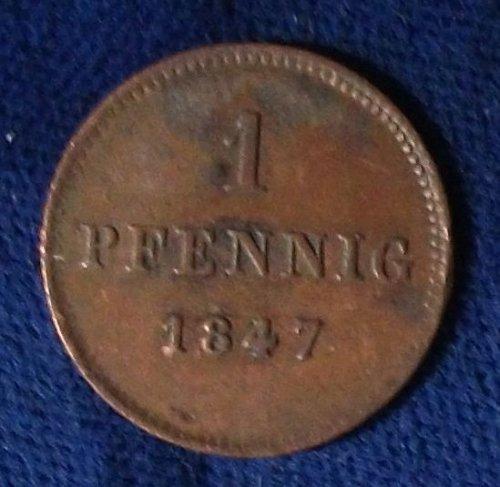 1847 German States/Bavaria Pfennig AU