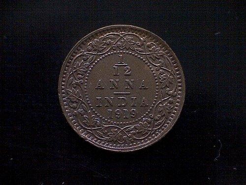 """1919C INDIA - BRITISH 1/12 ANNA 1-PIE  """"DIE CRACK"""""""