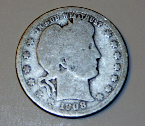 COLLECTIBLE U.S. 1908-O BARBER QUARTER 25C PIECE GOOD G04.....NICE STARTER...