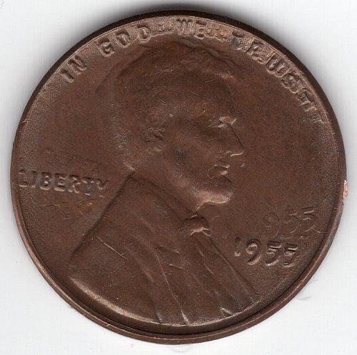 1955 Doubled Die Lincoln Wheat Cent Penny 1C DDO - Trippled Die (EF). Rare! Brow