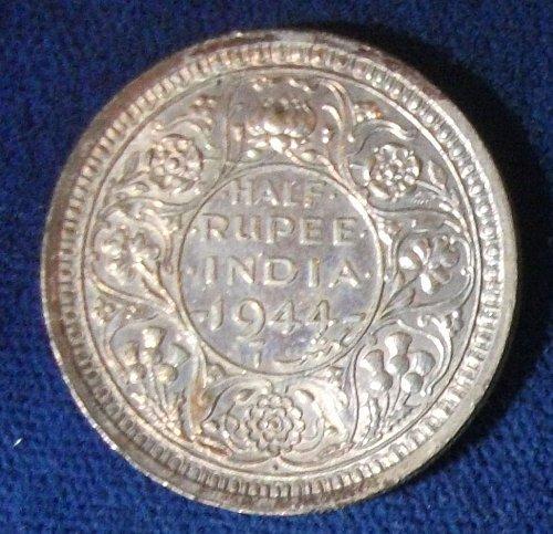 1944(b)Dot India/British Half Rupee XF