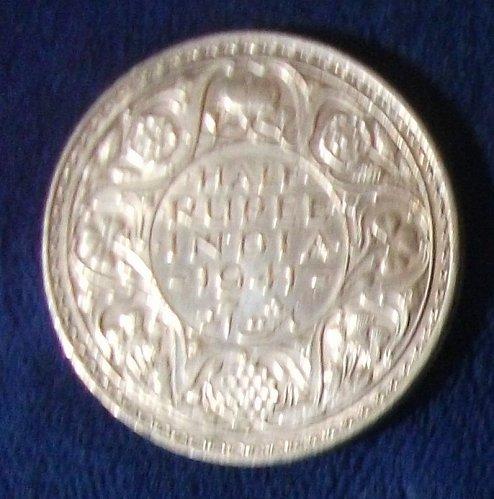 1941(b) India/British Half Rupee AU