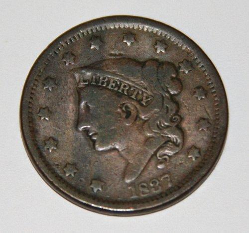 COLLECTIBLE U.S. 1837 1C CORONET PENNY....XF40....