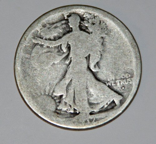 COLLECTIBLE U.S. 1917-D OBVERSE WALKING LIBERTY 50C HALF DOLLAR COIN......G06...