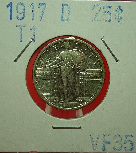 1917 D T1 STANDING LIBERTY QUARTER