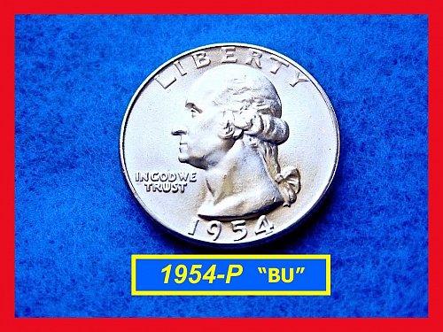 "1954-P Washington SILVER Quarter   ""MS-64"" UNCIRCULATED ☆•☆ (#2489)"