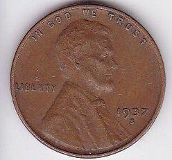 1937 s LINCOLN CENT - FINE GRADE