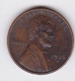 1936 S ..CIRCULATED LINCOLN FINE COIN