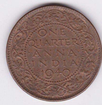 1940 - BRITISH INDIA..1/4 ANNA FINE COIN