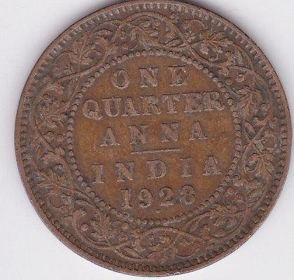 1928  - BRITISH INDIA..1/4 ANNA FINE COIN GK 5TH