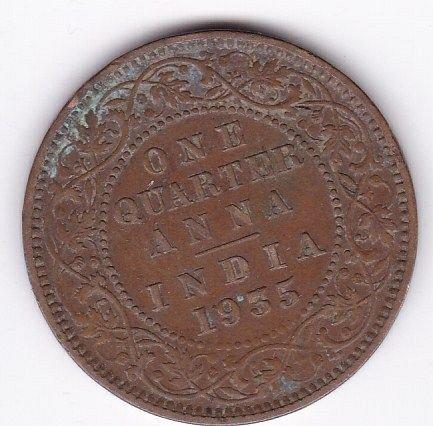1935  - BRITISH INDIA..1/4 ANNA FINE COIN GK 5TH