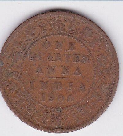 1900 - BRITISH INDIA..1/4 ANNA FINE VICTORIA  EMPRESS - COIN