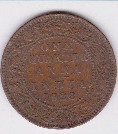 BRITISH INDIA 1/4 ANNA  GKV   1928  FINE COIN