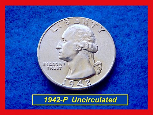 "1942-P Washington SILVER •  UNCIRCULATED ""BU"" with Great Details  (#2486)"
