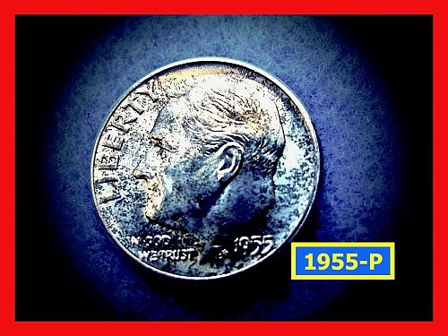 1955-P Roosevelt Dime  Silver Dime  UNC and Toned    (#3598)