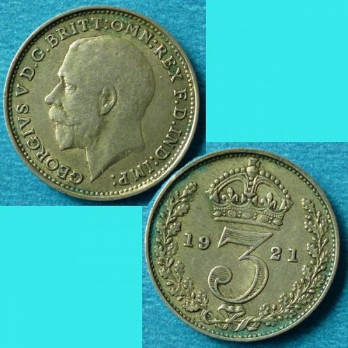 UK Great Britain 3 Pence 1921 km 813a Silver