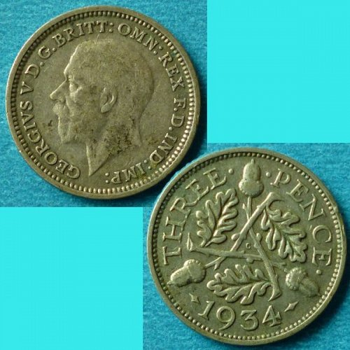UK Great Britain 3 Pence 1934 km 831 Silver
