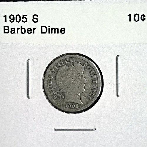 1905 S Barber Dime