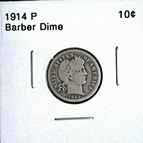 1914 P Barber Dime - 6 Photos!