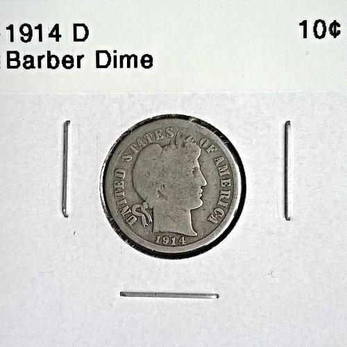 1914 D Barber Dime - 6 Photos!