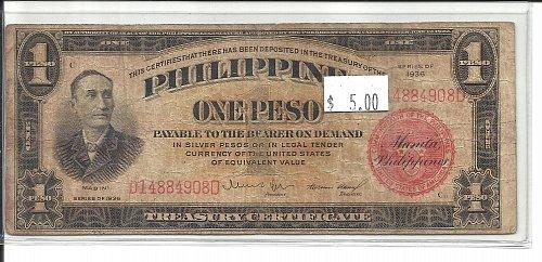 1936   PHILIPPINES   1 PESO  NOTE