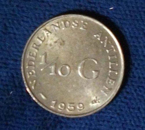 1959 Netherlands Antilles 1/10 Gulden AU