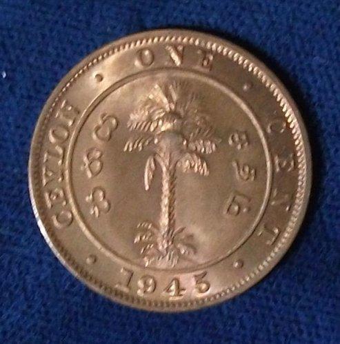 1945 Ceylon Cent UNC