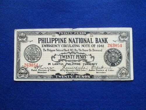 PHILIPPINES 1941 20 PESOS EMERGENCY WAR NOTE