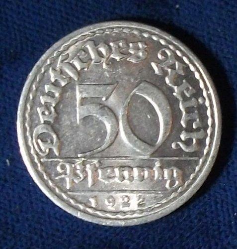 1922D Germany/Weimar Republic 50 Pfennig AU+