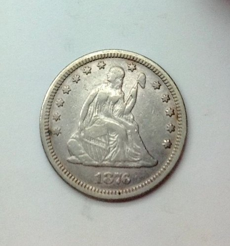 1876 P Seated Liberty Quarter