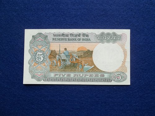 INDIA (ND)1975  5 RUPEE NOTE sig 85  XF-AU CONDITION!
