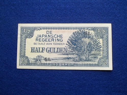 NETHERLANDS INDIES (ND)1942  1/2 GULDEN WW2 NOTE AU-UNC CONDITION!